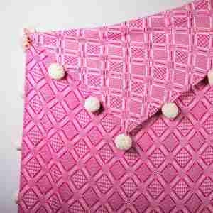 best buy throws Pink pompom handmade jacquard throw Att Pynta