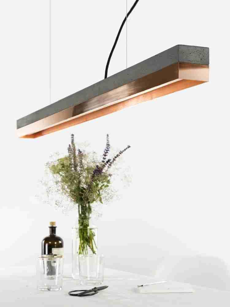 Roomy Home concrete interior luxe Clippings Gantlights concrete copper pendant light