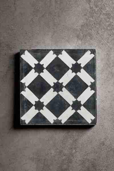 Roomy Home concrete interior luxe Rockett St George handmade concrete tile black and white star design