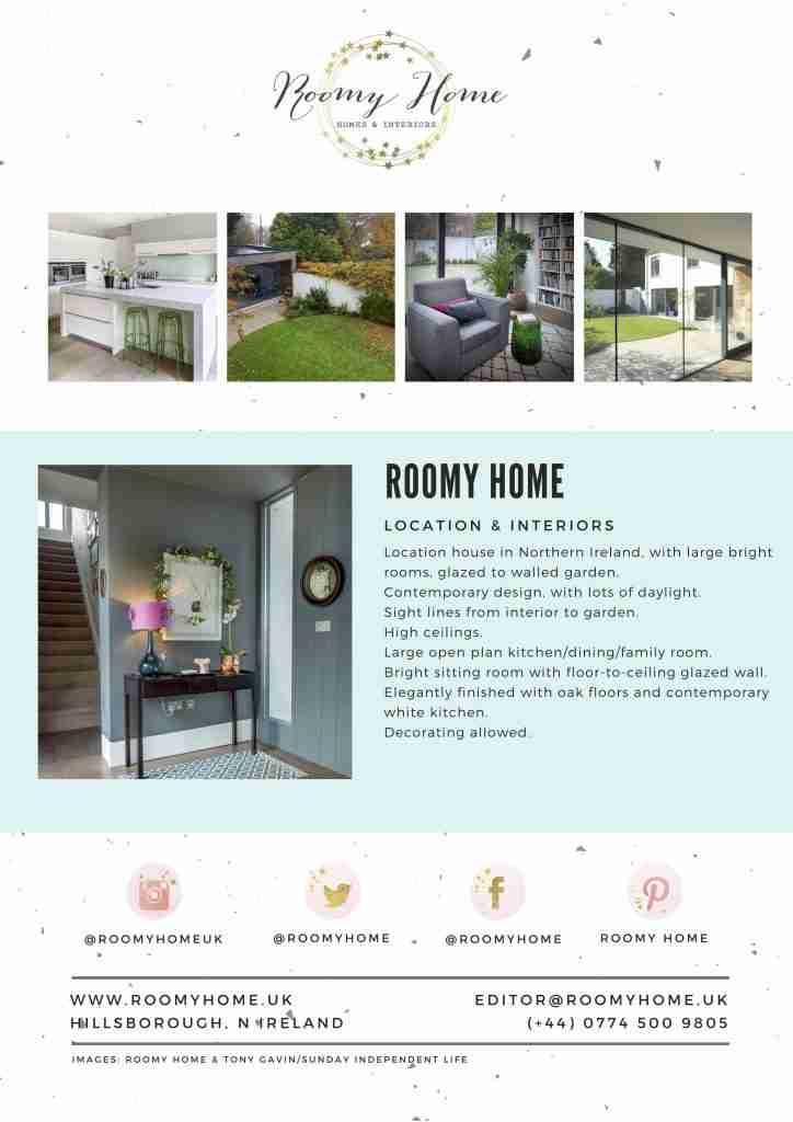 Intro Roomy Home photoshoot location house Northern Ireland Belfast Dublin
