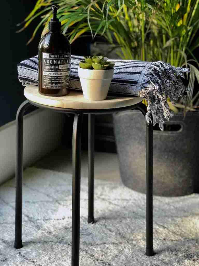Roomy Home Hema interiors edit wooden bathroom stool